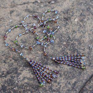 [5/$25] Long Drape Glass Bead Tassel Necklace